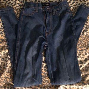 Fashion move high waist skinny jeans